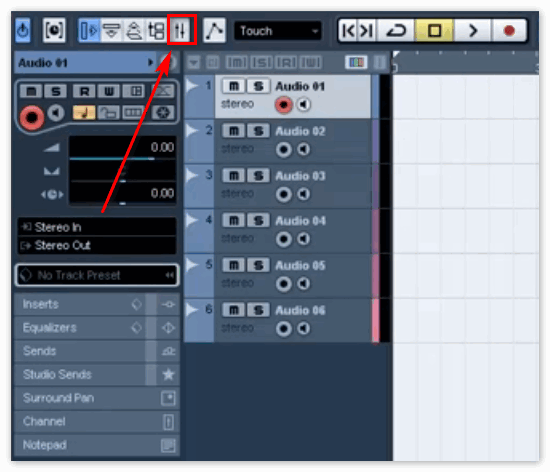 Кнопка Mixer в Кубейс 5