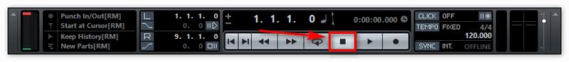 Кнопка Стоп при записи в Кубейс 8
