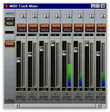 Окно MIDI Trask Mixer