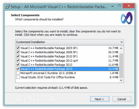 Окно Установки Microsoft Visual C++.