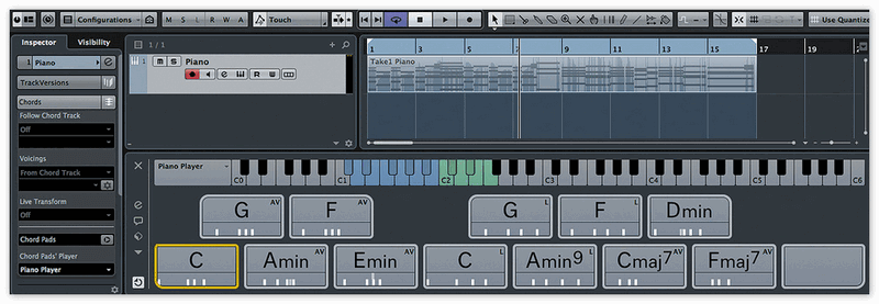 панель Chord Track в Cubase AI